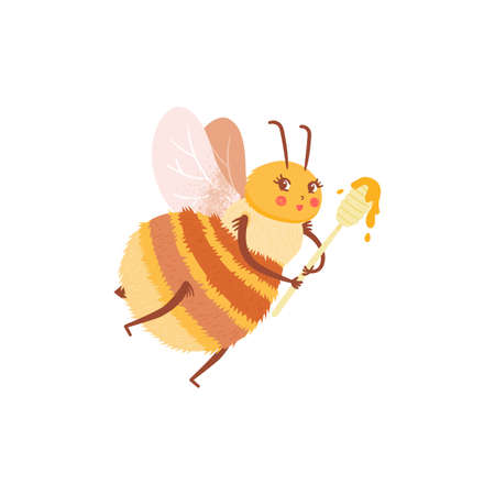 Cartoon happy honeybee with spoon with honey in flat style. Child character