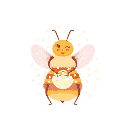 Cartoon happy honeybee with pollen in flat style. Honey bee vector personage isolated design. Child character Иллюстрация