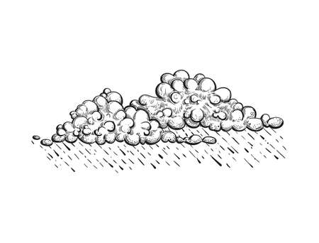 Vector cloud with rain, illustration in engraved style. Hand drawn gloomy cloud, pencil sketch.