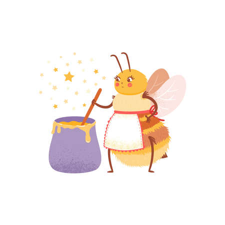 Cartoon hostess bee in an apron prepares honey in a cauldron. The child character of bee chef on white background in flat style, isolated design.