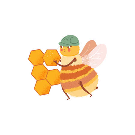 Cartoon honeybee builds a honeycomb beehive, illustration in flat style. The character of cute bee isolated design on white background. Child character