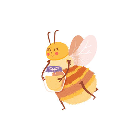 Cartoon insect character flying bee with a jar of honey in flat style. Honey bee vector personage isolated design. Иллюстрация
