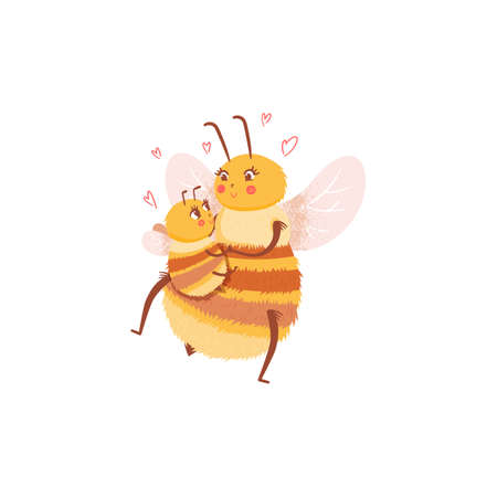 Cartoon insect character mom with baby, bee family in flat style. Honey bee vector personage isolated design.