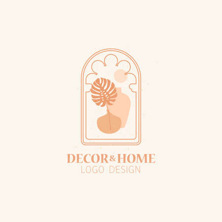 Vector concept of trendy arch  with monstera palm leaf, linear style logo with window in moroccan style. Exotic logotype theme.
