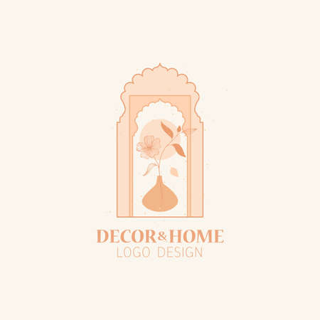 Vector concept of trendy arch  with flower in a vase, linear style logo with window in moroccan style. Иллюстрация
