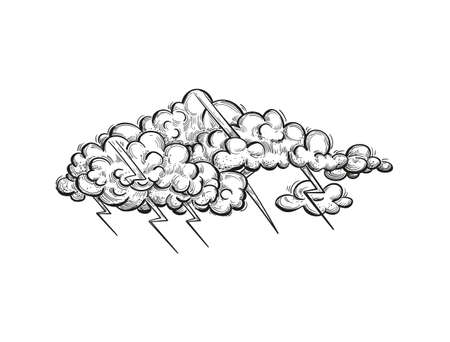 Vector thundercloud, illustration in engraved style. Hand drawn storm cloud with zippers, pencil sketch. Иллюстрация