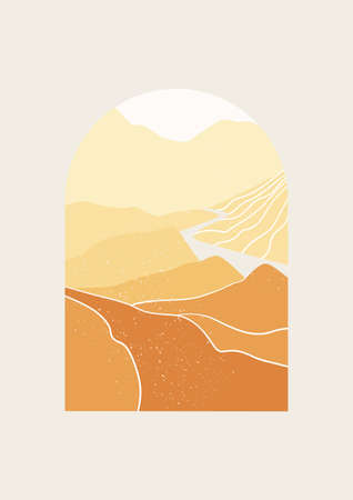 Abstract Landscape valley of mountains vector illustration. Minimal wall art decor. Mid Century Modern print of national park with river and mountains.