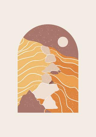 Abstract Landscape of desert vector illustration. Mid Century Modern print of desert and rocks. Иллюстрация