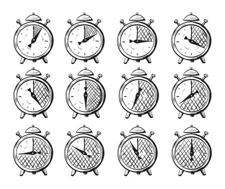 Vector illustration of a timer set from 5 minutes to an hour, icons in a sketch doodle style to indicate cooking times and other actions that require waiting. Иллюстрация