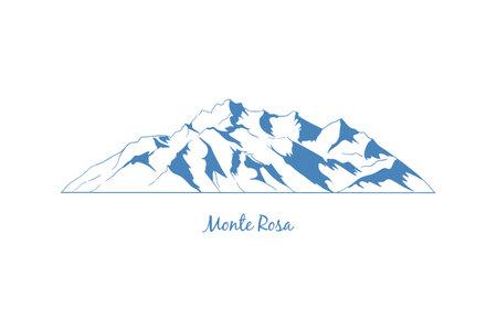 Monte Rosa mountain, popular peaks for climbing. Mountain massif graphic illustration. Иллюстрация