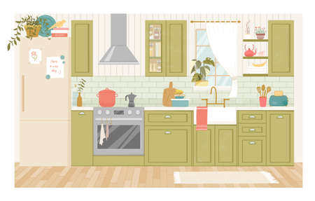 Kitchen interior with furniture. Furniture banner concept. Dining area in the house Illustration in French country style, kitchen utensils.