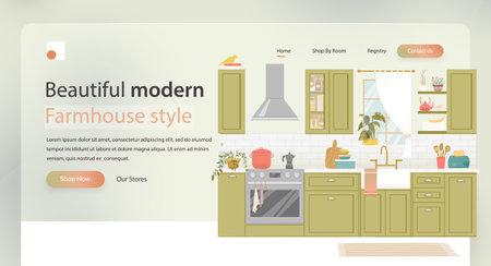 Kitchen furniture design banner concept. Dinner room design. Home furniture site banner. Kitchen design. Kitchen interior landing page header. Фото со стока