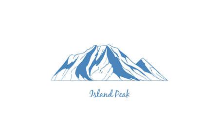 Island Peak mountain in Sagarmatha National Park of the Himalaya, popular climbing destination. Mountain vector icon for logo, emblem, banner.