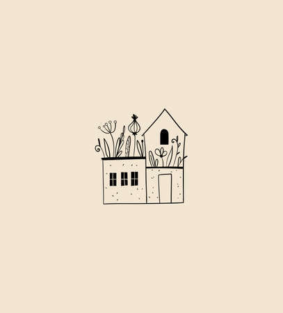 Linear cozy house vector emblem, home logo design template. Tiny country house, cottage with plants Иллюстрация