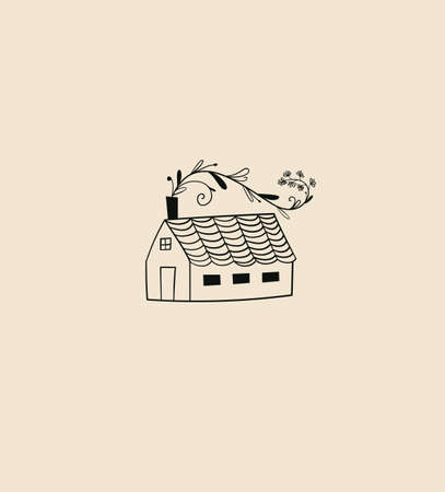 Vector emblem of linear cozy house, home design template. Tiny house with plants - symbol in scandinavian and minimalist style. Иллюстрация