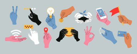Colorful vector hands holding different stuff, icons of various online operations with money, credit card, taxi call, location icon, wai fay sign. Иллюстрация