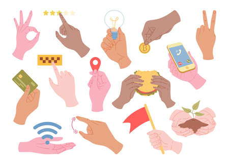 Vector set of hands holding different stuff, hands gestures, icons of various online operations with money, rating, location icon, wai fay sign. Иллюстрация