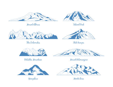 Mountains vector icons, emblem, banners for mountain climbing, hiking trails in line style. The mountains peaks linear symbols.
