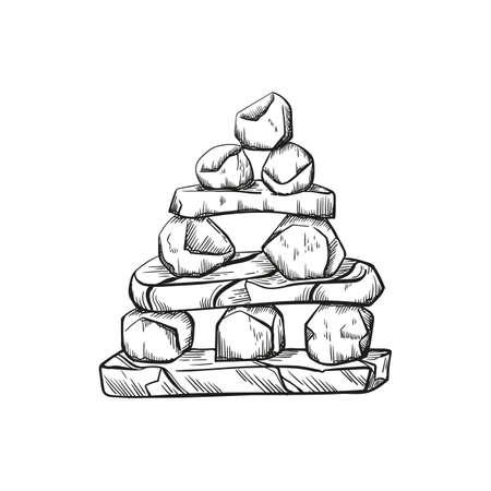 Rock Pyramid Balancing vector illustration. Stone Stacking Art, sketch style print. Balancing and stack rocks emblem.