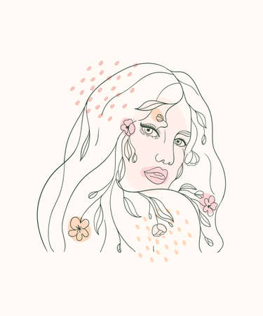 Continuous line portrait of a girl. Vector drawing continuous line style, beautiful dreaming woman with abstract texture. Иллюстрация