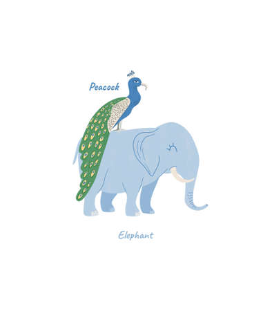 Exotic inhabitants with inscriptions what kind of animal in English, a picture for teaching children. Cartoon peacock and elephant isolated tropical animals Иллюстрация