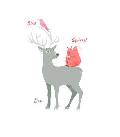 Forest inhabitants cartoon deer with antlers, squirrel and bird isolated forest animals vector illustration. Иллюстрация