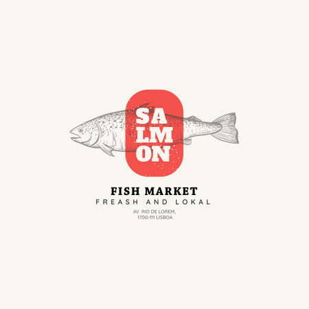 Vector Restaurant and Seafood isolated logo template. Seafood graphic sign with salmon fish in sketch style Иллюстрация