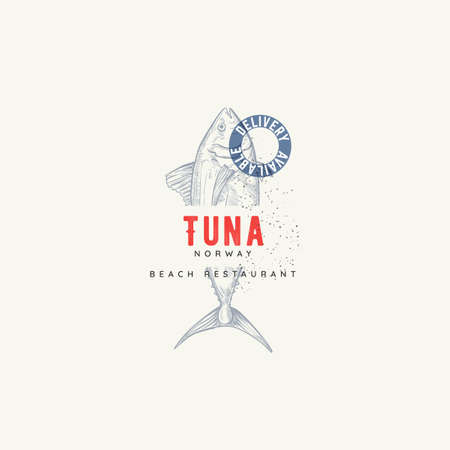 Vector Restaurant and Seafood isolated logo template. Seafood graphic sign with tuna fish in sketch style