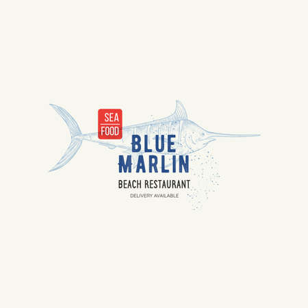 Vector Restaurant and Seafood logo with name and graphic sign Blue Marlin. Fish illustration in sketch style, badge for your design, printing, label. Иллюстрация