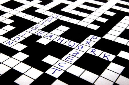 puzzling: a shot of a crossword puzzle with words on it