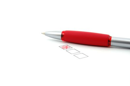 checkbox with pen isolated on white background Stock Photo - 5127638