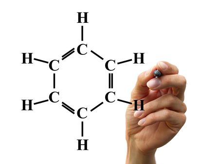 analytical chemistry: hand write a chemical formula isolated on whtie background