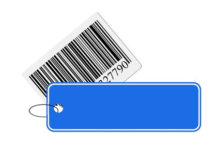 labeling: illustration from a barcode with blue label. Stock Photo