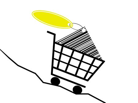 a shopping basket drive of a sinking prices kurve Stock Photo - 6350666