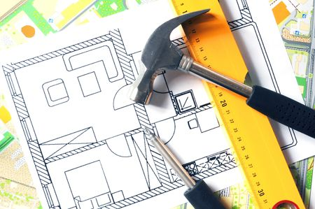 a modern building design with construction tools Stock Photo - 6350671