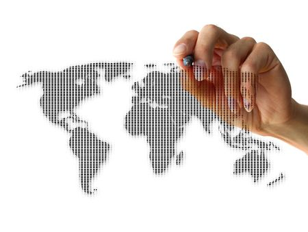 a human hand drawing the world isolated on white background photo