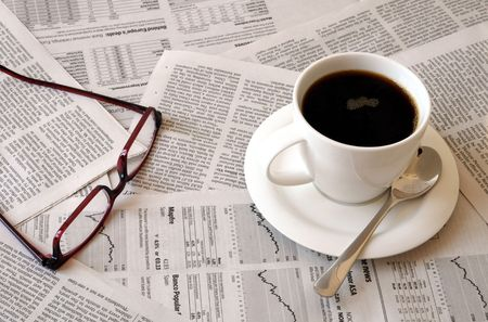 good morning cofffee break with reading the newspaper photo