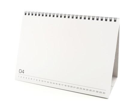 calendario escritorio: calendario de escritorio en blanco con el espacio de la copia de texto, el dise�o y el gr�fico aislado sobre fondo blanco