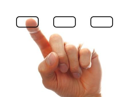 option key: businessman�s hand chooising one of the options, isolated on white background Stock Photo
