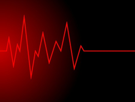 a red radio wave on black background