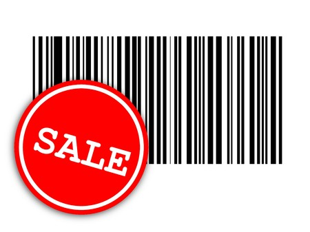 laser tag: illustration from a bar code with red label on white background