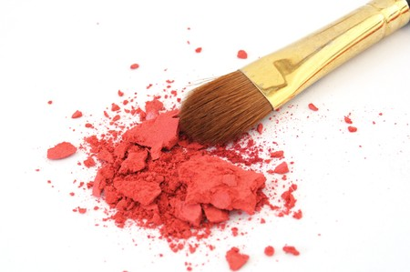 makeup brush and cosmetic powder isolated on white background Stock Photo