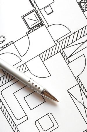Architectural drawings and tools. Concept of home architecture.  photo