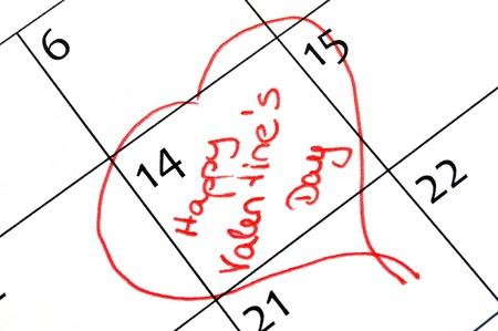 almanak: kalender pagina met een detail van de dag van de Valentijnskaart