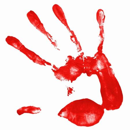 une empreinte de main avec istolated de couleur rouge sur fond blanc