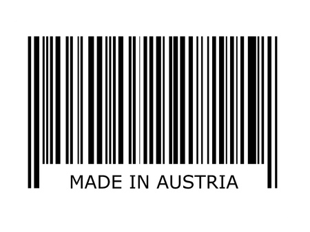 inscription: bar code with the inscription made in austria Stock Photo