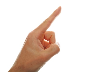 male hand pointing isolated on white background photo