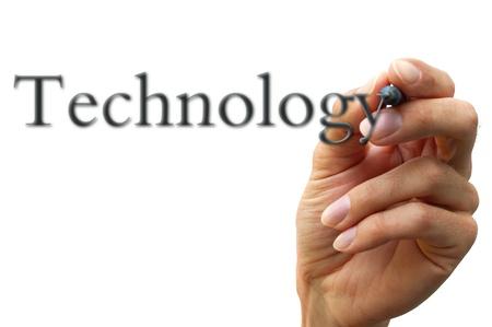 hand writing technology isolated on white background photo