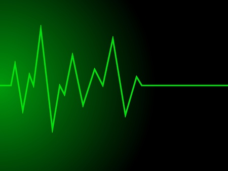 a green radio wave on black background Stock Photo