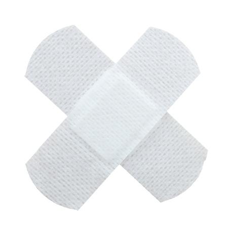 curitas: yeso blanco aislado en concepto m�dicos de fondo blanco Foto de archivo
